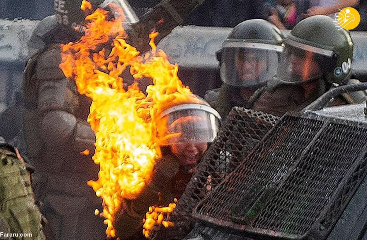 افتادن آتش به جان زنان پلیس