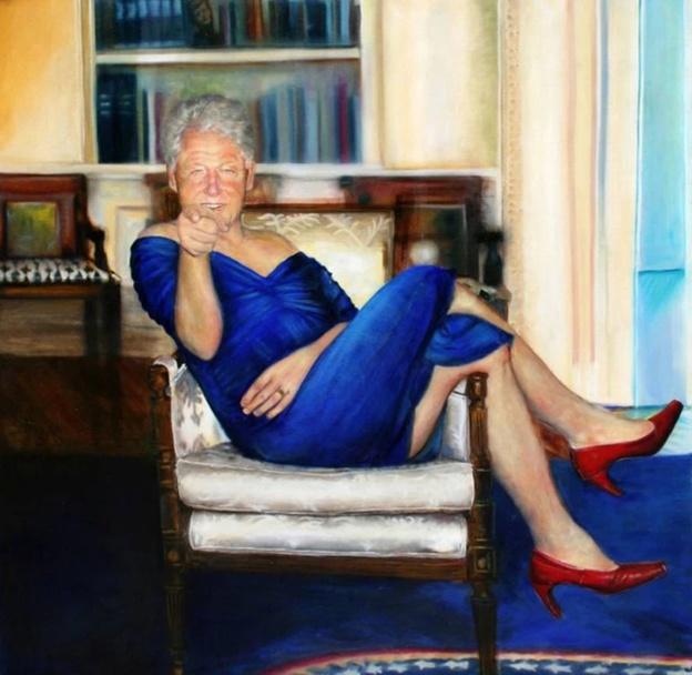 تابلوی نقاشی عجیب از بیل کلینتون با لباس زنانه
