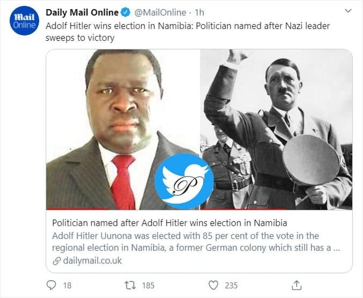 انتخابات | آدولف هیتلر در کشور افریقایی نامیبیا برنده انتخابات شد