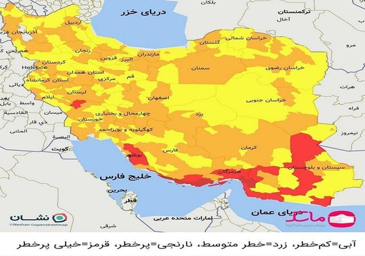 ۶۰ درصد استان بوشهر در وضعیت قرمز کرونایی