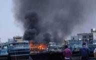 آتش سوزی یک فروند شناور باری در خور گناوه مهار شد