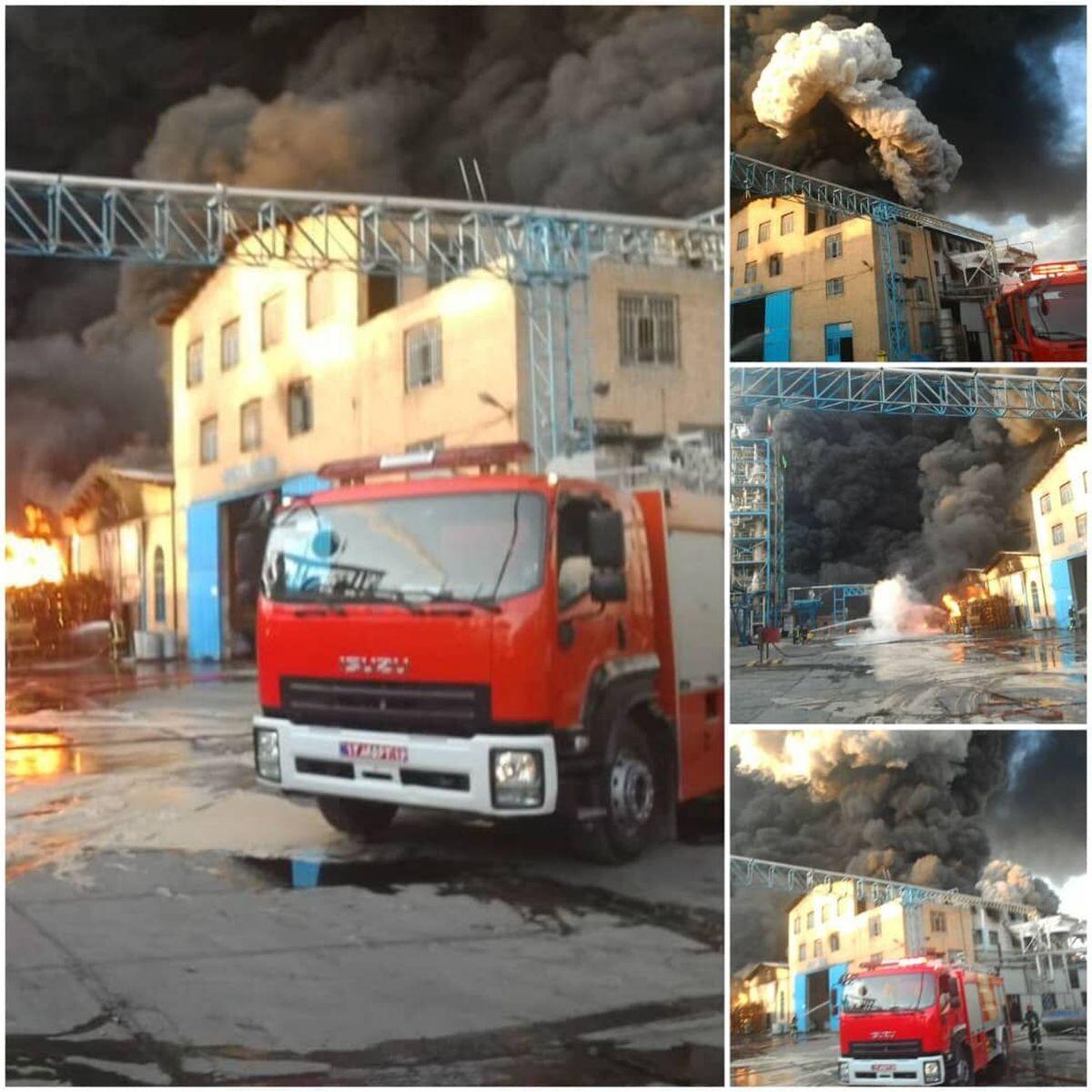 آتشسوزی کارخانه تولید الکل در قم