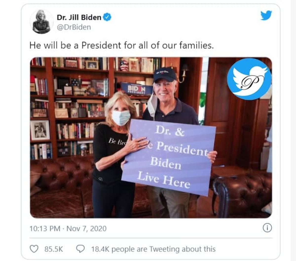 انتشار عکس جالب از  همسر بایدن در کنار رئیس جمهور جدید آمریکا