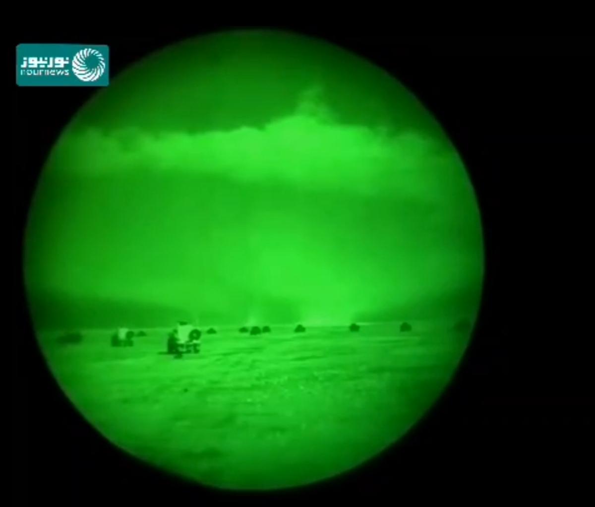 حمله موشکی ایران به پایگاه عین الاسد از نگاه دوربین دید درشب پایگاه + ویدئو