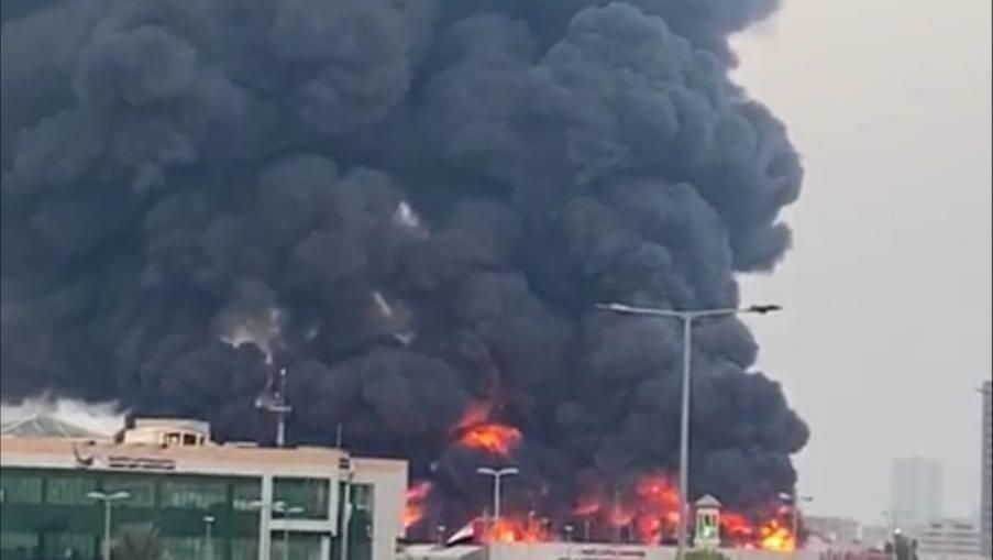امارات متحده عربی | آتشسوزی مهیب غروب چهارشنبه در بازار مرکبات عجمان