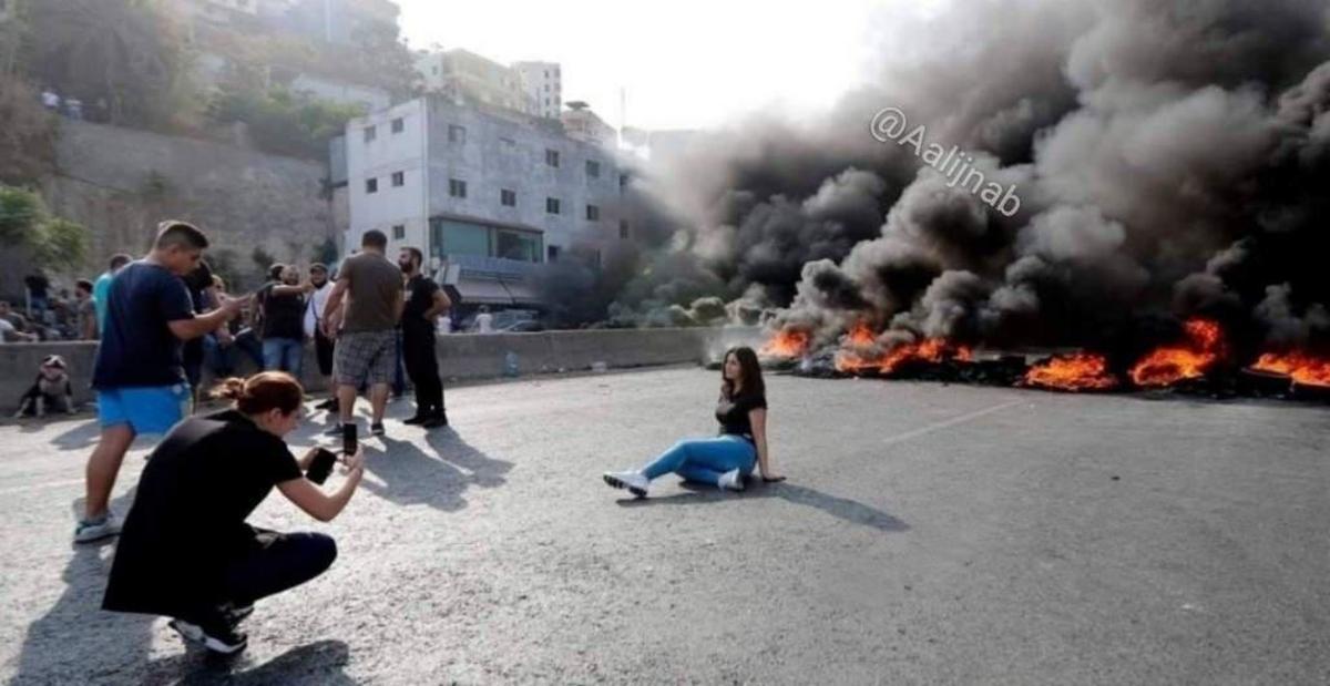 گرفتن عکس یادگاری در درگیری های خیابانی بیروت پایتخت لبنان!