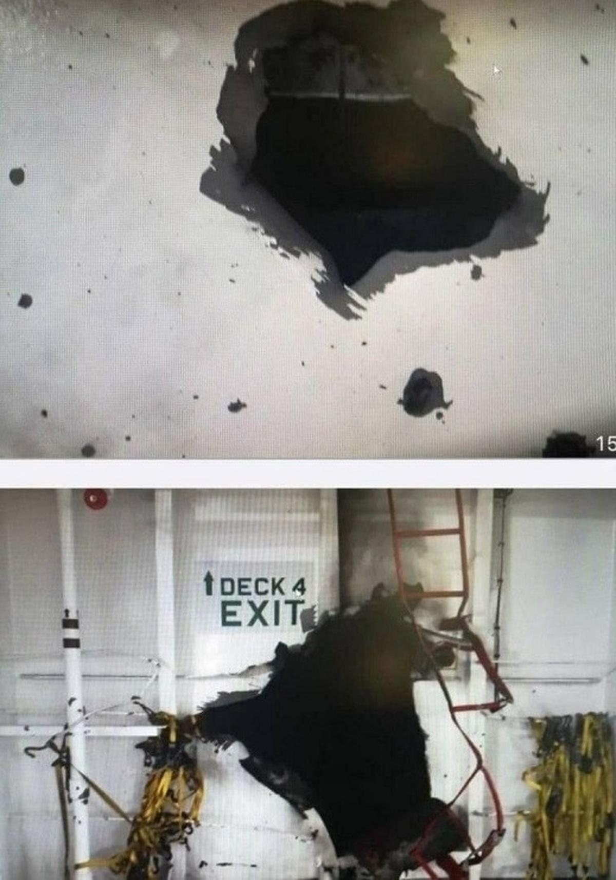 کشتی اسرائیلی سوراخ شد  کشتی اسرائیلی در دریای عمان منفجر شد
