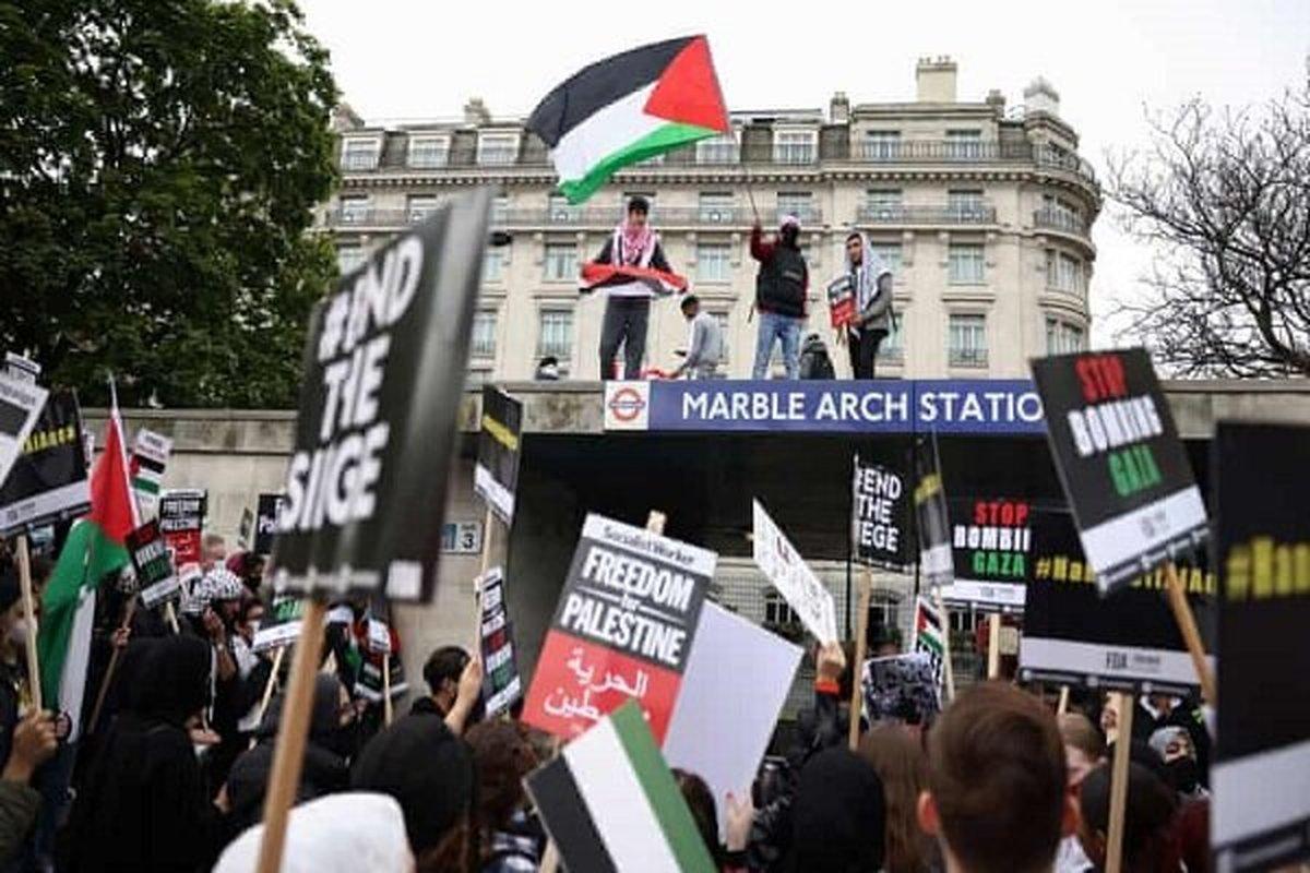 تظاهرات گسترده حمایت از مردم فلسطین در لندن