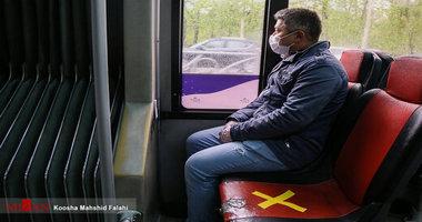 استفاده تمامی مسافران اتوبوس از ماسک اجباری است
