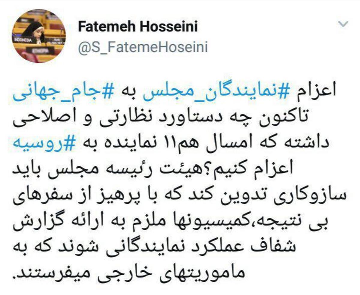 انتقاد فاطمه حسینی از اعزام نمایندگان مجلس به جام جهانی روسیه