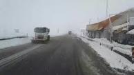 گرفتار شدن خودروها در جاده های برفی مازندران