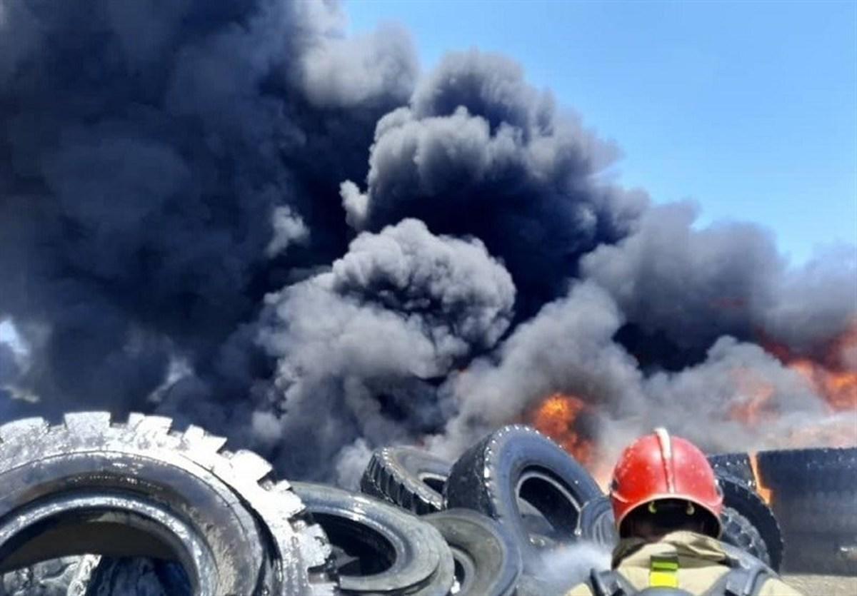 سامانه ۱۲۵  |  حادثه آتشسوزی  در محل نگهداری لاستیک