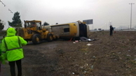 حادثه  |  یک فوتی و ١۵ مصدوم در پی واژگونی اتوبوس کارگران صباباتری
