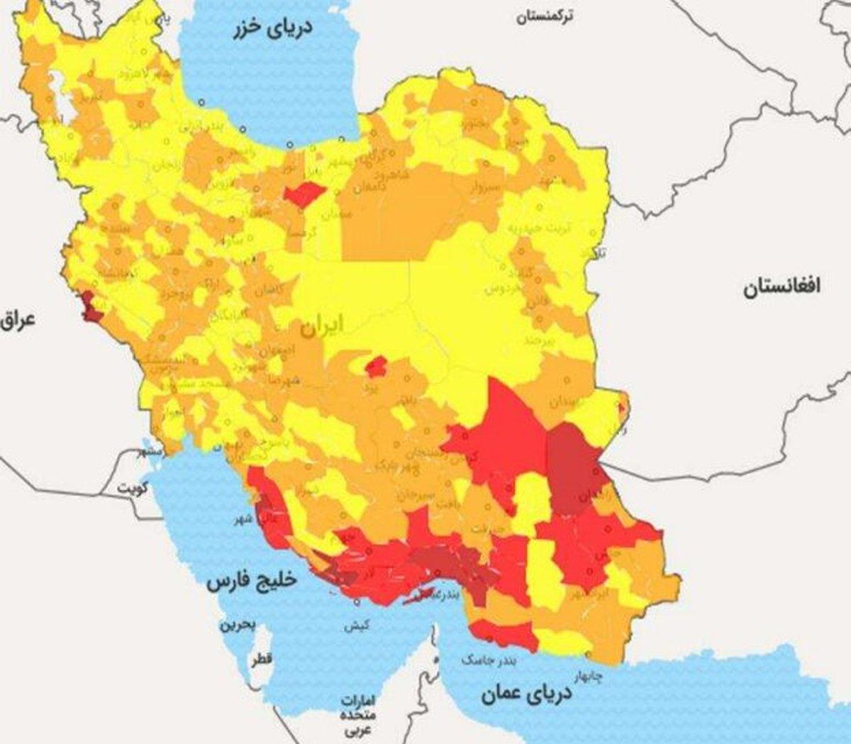 گسترش شهرهای قرمز کرونا از جنوب به سمت مرکز کشور   زنگ خطری برای بروز موج پنجم بیماری
