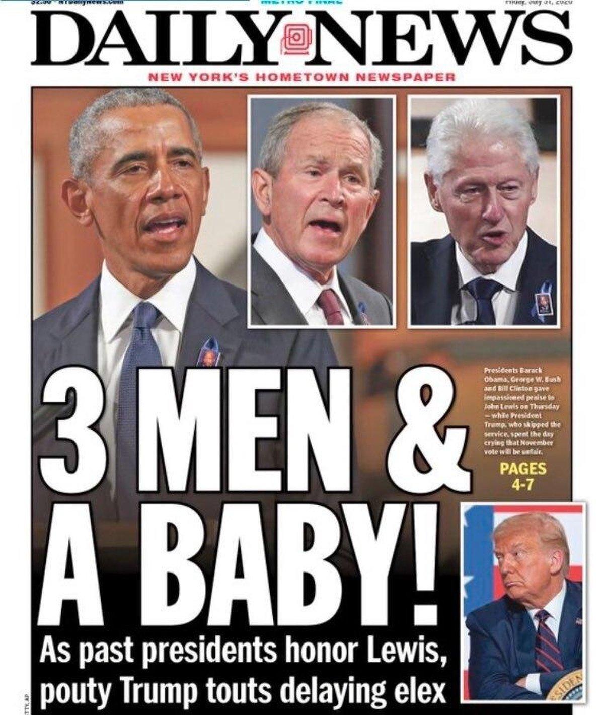 واکنش به نوع رفتار رئیس جمهور ایالات متحده  «سه مرد و یک بچه»